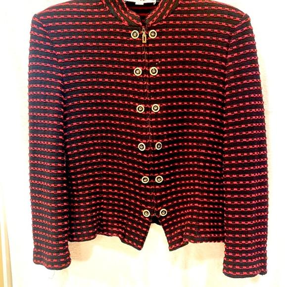 St John Knit Jacket Red Black Gold Zips Size 10